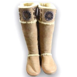 Auth TORY BURCH Embellished Tall Moccasin Boots